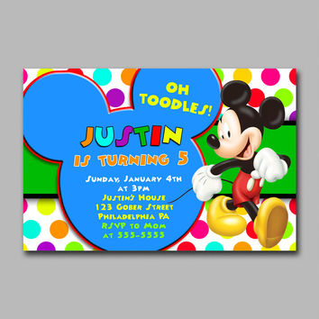 ADF 274 Mickey Colorful Polka Dot Kids Birthday Invitation Party Design