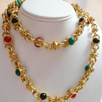 vintage KJL Mughal style necklace | Kenneth J Lane | thick gold tone chain | glass cabs cabochons | mogul chain | gripoix style