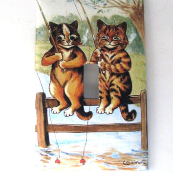Double Light Switch Cover - Light Switch Plate Cats Fishing Louis Wain