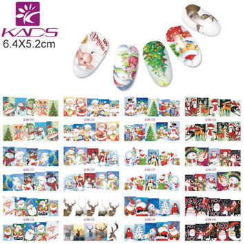 KADS BN229-240 Christmas Style Nail Stickers Snoflake Santa Bell Deer Nail Art Water Transfer Decals Gull Wraps DIY Tool