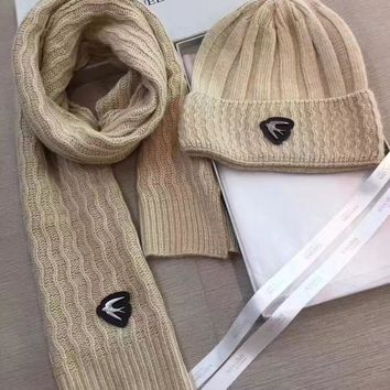 Alexander McQueen Fashion Beanies Knit Winter Hat Cap Scarf Scarves Set Two-Piece1