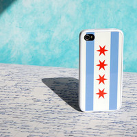 Chicago iPhone Case - Chicago Flag with White Rubber Case Shown