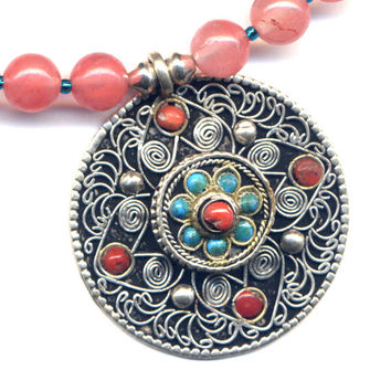 Unique Mandala Tibetan Necklace, Nepal Prayer box Pendant, OOAK Necklace - Coral , Turquoise , Nepal Jewelry by AnnaArt72