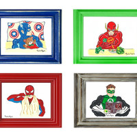 Special Offer. Set of 4 Superheroes Prints (choose 4 and pay 3)