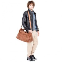 VIPARO | Tan 20 Inch Large Vintage Wash Leather Travel Duffle Hold-all Overnight Bag - Crosby