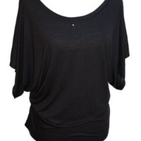 YogaColors Crystal Boatneck Dolman Sleeve Blouse Jersey Tee Up to Plus Size (Large, Black)