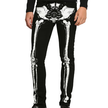 RUDE Black Skeleton Skinny Jeans