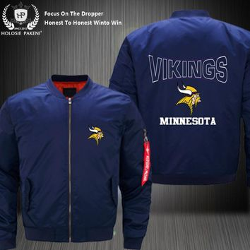 Dropshipping USA Size Unisex MA-1 Minnesota Vikings Men Women Flight Jacket Costume Design Printed Bomber Jacket Costume made