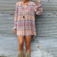 Sand Dunes Multi Print Long Sleeve Hi-Low Pleated Tunic