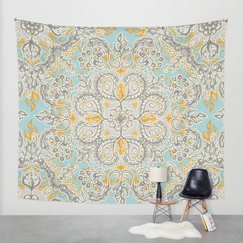 Gypsy Floral in Soft Neutrals, Grey & Yellow on Sage Wall Tapestry by Micklyn