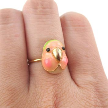 Lovebird Agapornis Parrot Bird Face Shaped Adjustable Enamel Ring