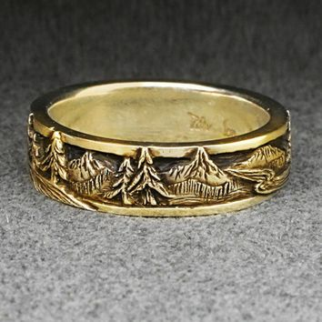 PEAKS PINES and RIVERS  A Wedding Band in 14k Yellow by BandScapes