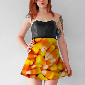 Candy Corn Halloween Skirt - fine art photography, wearable art, Fall Fashion, Candy lovers gift, limited edition flared and bodycon