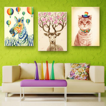 Oil Painting Canvas Wonderful Animal Wall Art Decoration Modular Painting Home Decor On Canvas Modern Wall Prints(3PCS)