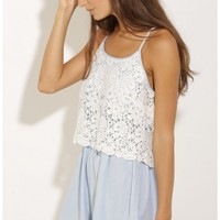 Playsuits/Jumpsuits > Lace Overlay Playsuit in Light Blue