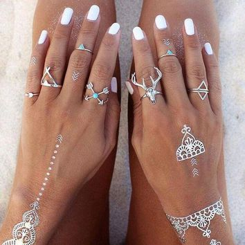 DCCKHY9 New Hot Bohemian Style 7pcs/Set Vintage Anti Silver Rings Moosehead Arrows Lucky Rings Set for Women Party Boho Free Shipping