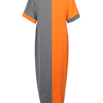 Color Block Bat Sleeve Maxi Dress