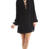 LACE-UP LONG SLEEVE DRESS - BLACK