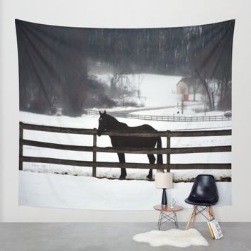 Horse in the Winter Fog Wall Tapestry by BeachStudio