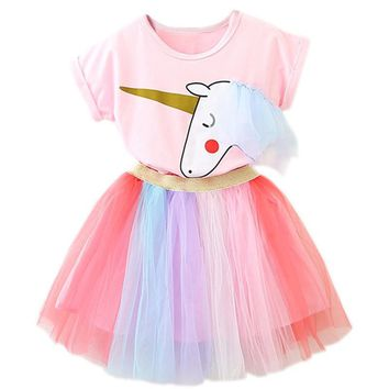 New Casual Summer Dress for Girl Children Kids 2-6 Years Girl Unicorn Print Colorful Tutu Dress Carnival Party Christmas Dresses
