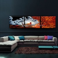 """Landscape Painting Red Modern Art 72"""" Acrylic Canvas Art Red Sunset Large Nature Abstract Tree Art Home Decor By Nandita Albright"""