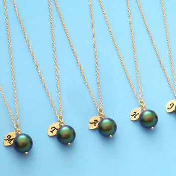 Set of 5-10, Personalized, Letter, Initial, 10mm, Dark green, Pearl, Gold, Silver, Necklace, Set, Wedding, Bridesmaid, Bridal, Gift, Jewelry