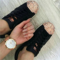 Adidas Shamrock SUPERSTAR metal shell head shining shoes black