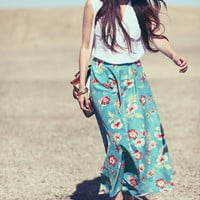 Light Turquoise Teal Pink Floral Hibiscus Hawaiian High Waisted Maxi Skirt - Florin
