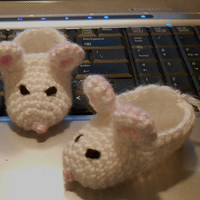 Baby Booties White Mouse Slippers