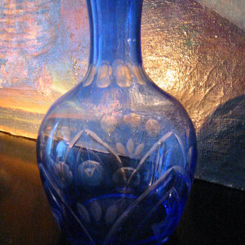 Hand Decorated Blue Glass Decanter Etched Flowers Art Deco Bud Vase