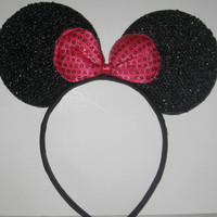 MINNIE MOUSE EARS Headband Black Sparkle Shimmer Hot Pink Sequin Bow Mickey