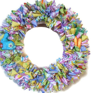 Easter Wreath/ Easter Themed Fabric Wreath