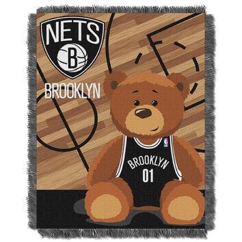 Brooklyn Nets NBA Triple Woven Jacquard Throw (Half Court Baby Series) (36x48)
