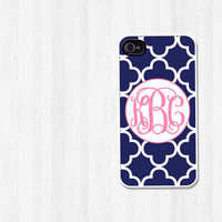 Personalized iPhone 4 Case, iPhone 5 Case, Navy Trellis Pretty Pink Script Monogram, iPhone Case, Phone Case, iPhone Cover (280)