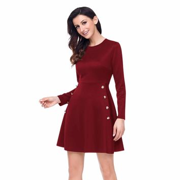 Button Side Detail Burgundy Military Skater Dress