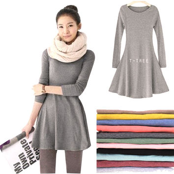 New Fashion Clothes Women Dress 100% Cotton Autumn Winter Dress Female Long Sleeve Dress O-Neck Woolen Dresses