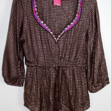 Free People Size Small Sequined Metallic Tunic Top Sz Small