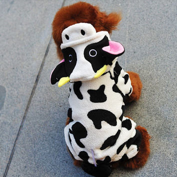Dog Clothes Teddy Autumn Winter Pet Clothes Coral Fleeceturns Cute Milk Cow, Free Shipping!