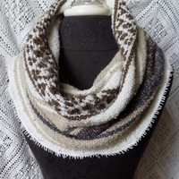 Rustic Subtle Brown and Grey Mexican Blanket Small Cowl Scarf- Free Shipping to Continental US