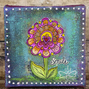 Smile - Whimsical Flower Art - Original Mixed Media Art - 6x6  Burlap Canvas - Whimsical Art - Girl's Room Art - Little Girl Gifts
