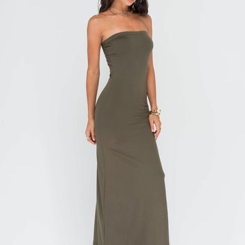 Totally Tubular Strapless Maxi Dress