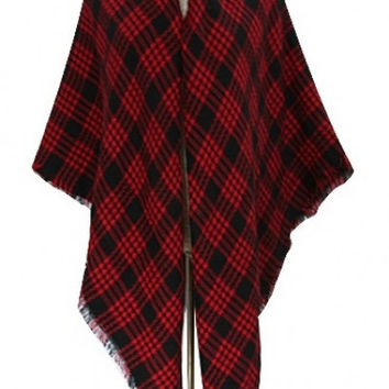 Red Plaid Scarf Poncho