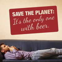 Wall Decal Save the Planet - decorative vinyl decor for guys