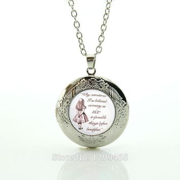 Six Impossible Things Alice in Wonderland, Alice quote Necklace gift Glass Cabochon Necklace Friendship Gift locket pendant N523