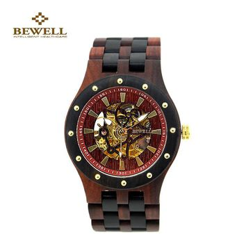 BEWELL Men's Luxury Wooden Mechanical Watch Classy Analog Sandalwood