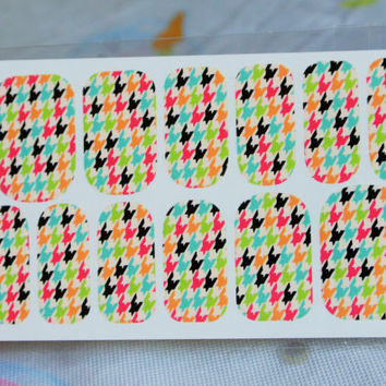 Colorful Houndstooth print water transfer nail wrap, 12 pcs nail art in a pack, nail decoration