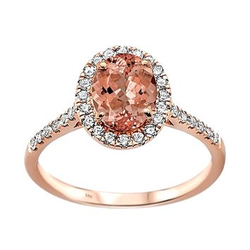 1.39tcw Oval Morganite   Diamond in 14K Rose Gold Halo Ring dbb6917ad1