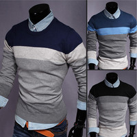 Color Contrast Men Knit Sweater