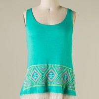 Jade Aztec Pattern Sleeveless Top with Lace Trim