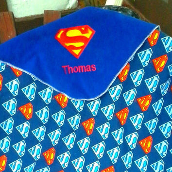 Deluxe Superman Inspired Fleece Baby/Kids Blanket -  Super Hero - Personalized